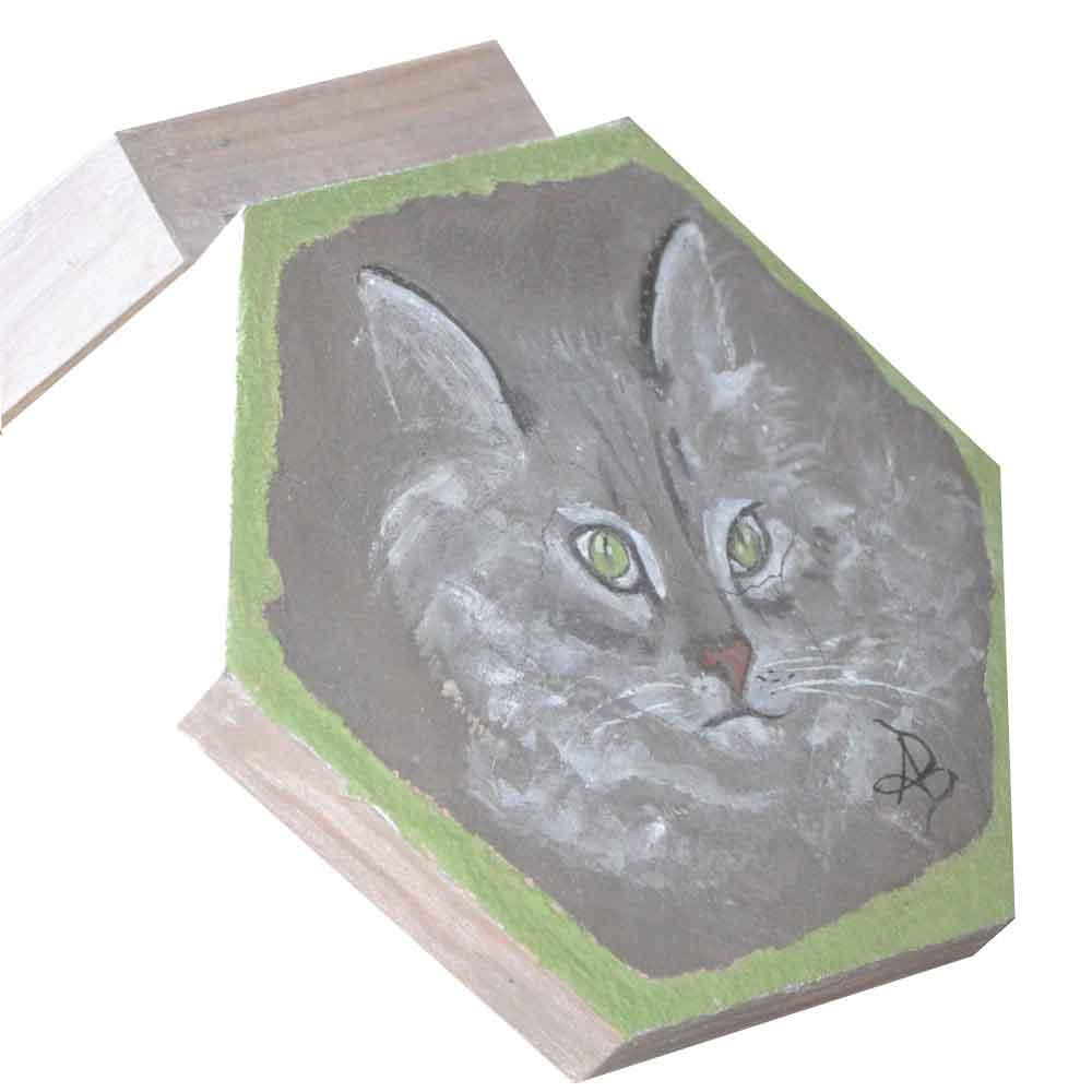fresque sur fond noir représentant une tête de chat sur une boite hexagonale