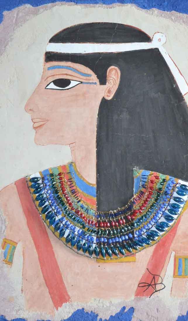 Fresque antique inspirée d'un portrait de Néfertari