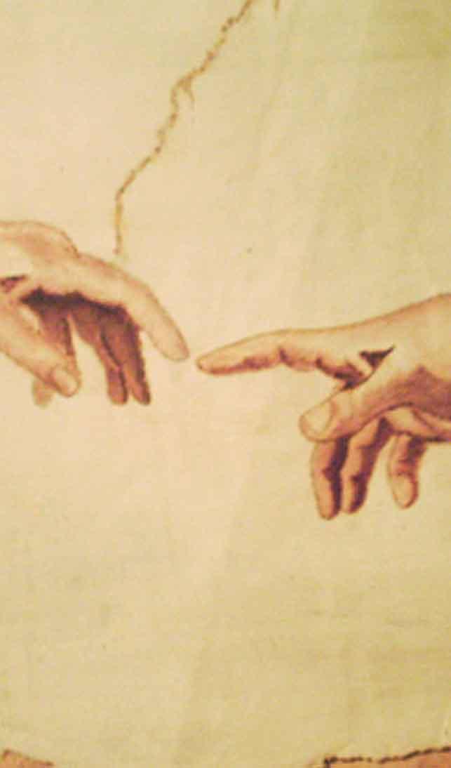 Gros plan sur les doigts qui se rejoignent, La Création d'Adam, chapelle sixtine, Michel Ange.